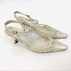 Vintage LC champagne pointed toe sandal heels